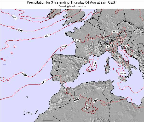 Spain Precipitation for 3 hrs ending Saturday 02 May at 8am CEST
