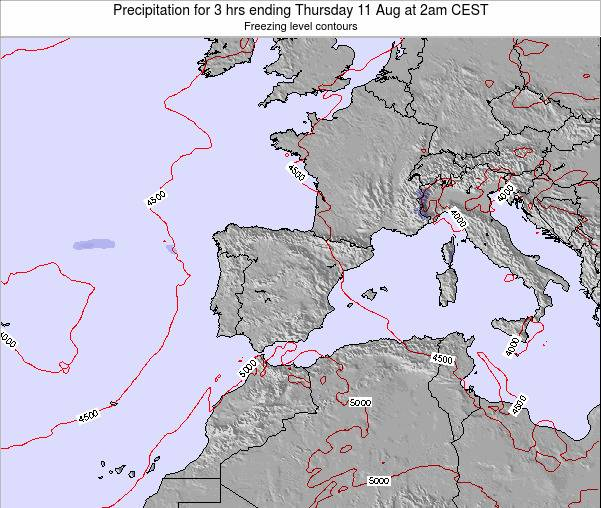 Spain Precipitation for 3 hrs ending Friday 14 Mar at 1pm CET