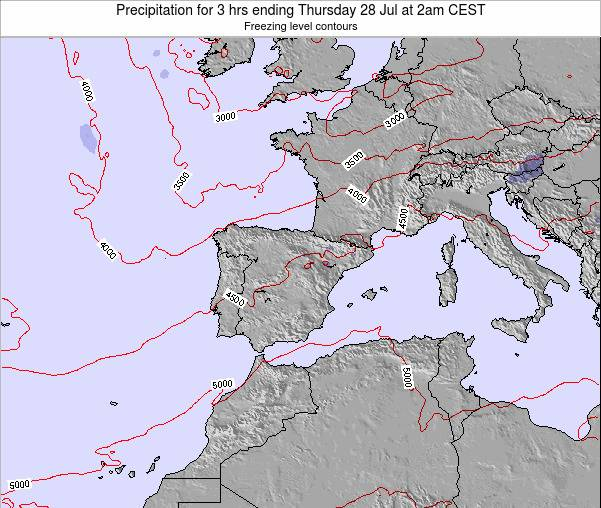 Spain Precipitation for 3 hrs ending Thursday 01 May at 2am CEST