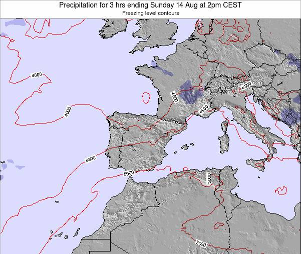 Spain Precipitation for 3 hrs ending Tuesday 18 Mar at 1pm CET