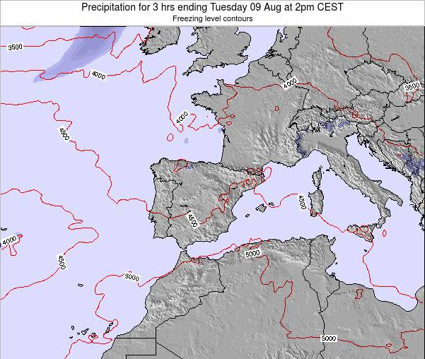 Spain Precipitation for 3 hrs ending Sunday 03 Aug at 2pm CEST