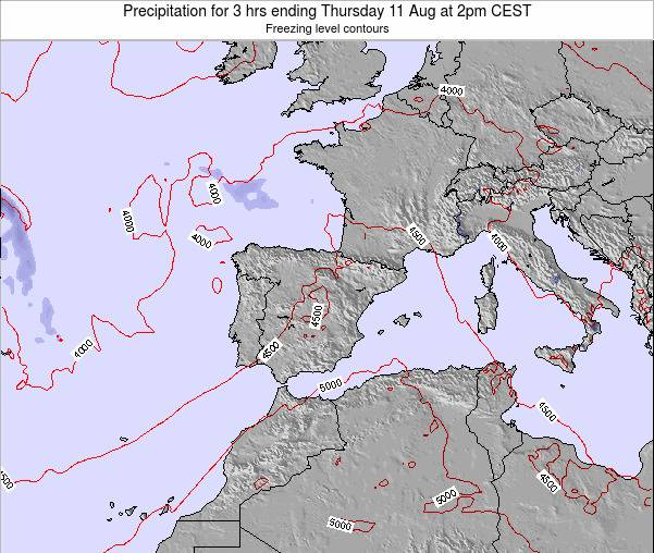 Spain Precipitation for 3 hrs ending Sunday 26 May at 8am CEST