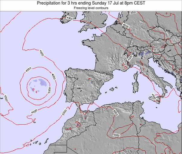 Spain Precipitation for 3 hrs ending Tuesday 11 Mar at 7pm CET