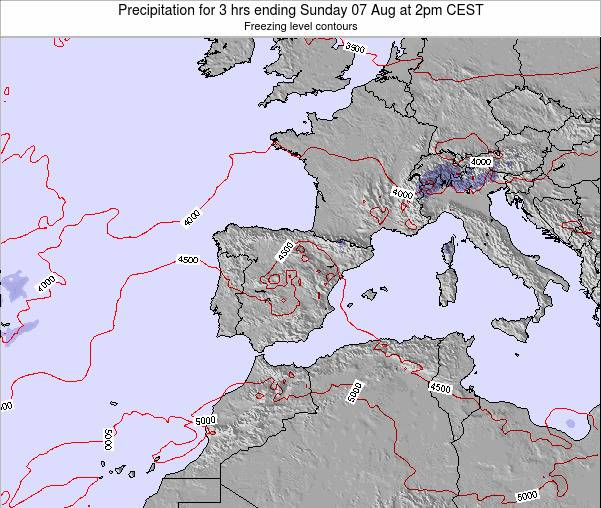 Spain Precipitation for 3 hrs ending Wednesday 19 Jun at 2pm CEST