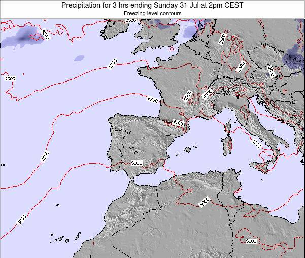 Spain Precipitation for 3 hrs ending Tuesday 11 Mar at 1pm CET