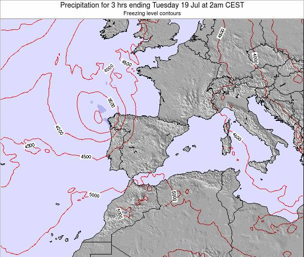 Spain Precipitation for 3 hrs ending Thursday 05 Dec at 7pm CET