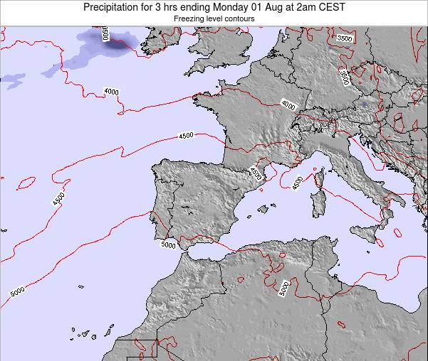 Spain Precipitation for 3 hrs ending Monday 27 Jun at 2pm CEST