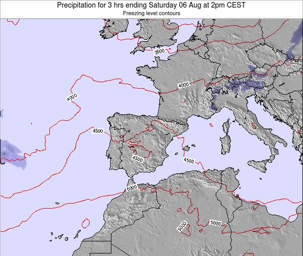 Spain Precipitation for 3 hrs ending Thursday 21 Aug at 8am CEST