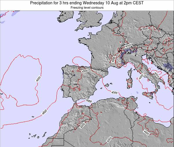 Spain Precipitation for 3 hrs ending Thursday 29 Sep at 2pm CEST
