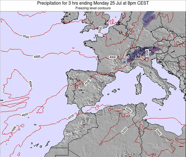 Spain Precipitation for 3 hrs ending Tuesday 11 Mar at 7am CET