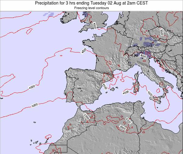 Spain Precipitation for 3 hrs ending Tuesday 28 Jun at 2pm CEST