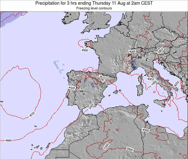 Spain Precipitation for 3 hrs ending Friday 18 Apr at 8pm CEST