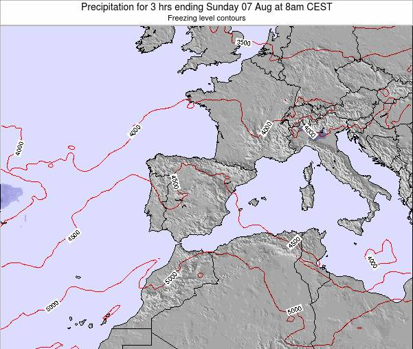 Spain Precipitation for 3 hrs ending Friday 06 Dec at 1pm CET