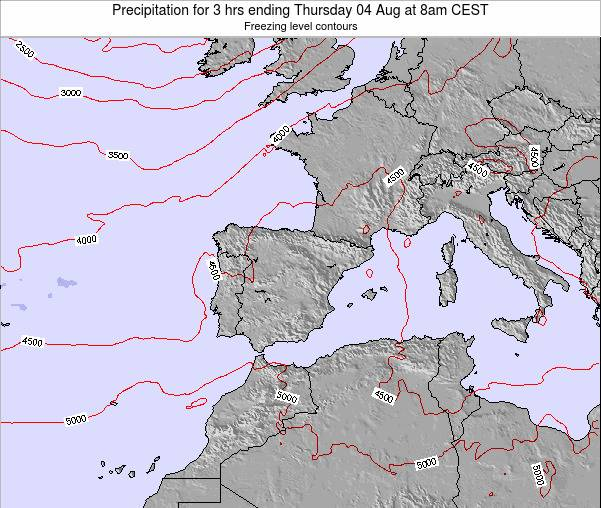 Spain Precipitation for 3 hrs ending Saturday 26 Apr at 8am CEST