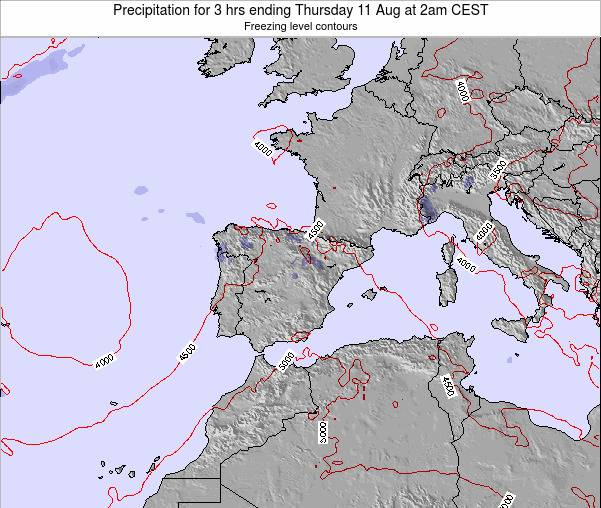 Spain Precipitation for 3 hrs ending Sunday 08 Dec at 7pm CET