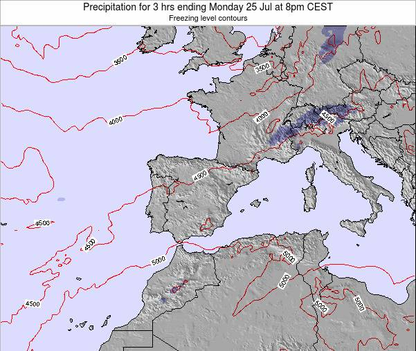 Spain Precipitation for 3 hrs ending Friday 14 Mar at 1am CET