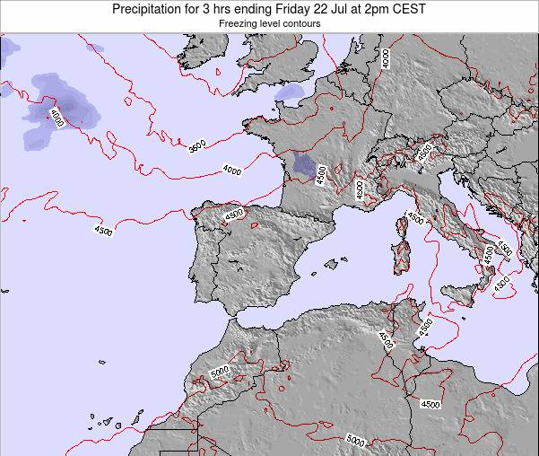 Spain Precipitation for 3 hrs ending Friday 25 Apr at 2pm CEST