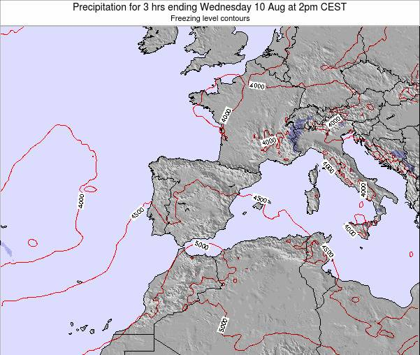 Spain Precipitation for 3 hrs ending Sunday 20 Apr at 8pm CEST