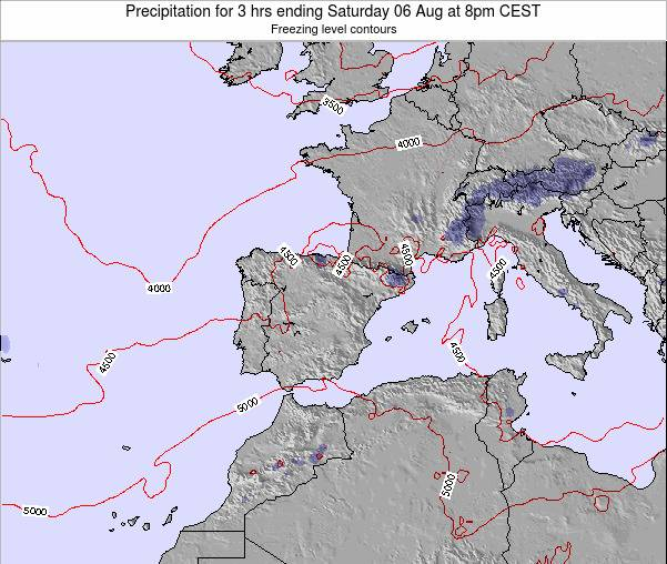 Spain Precipitation for 3 hrs ending Saturday 14 Dec at 1am CET