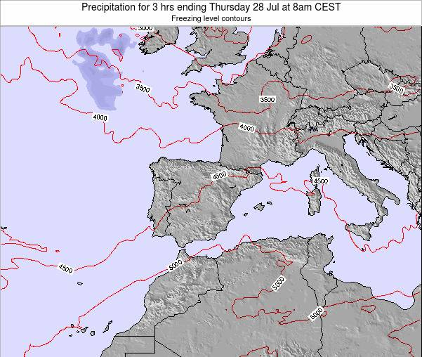 Spain Precipitation for 3 hrs ending Sunday 27 Apr at 2am CEST