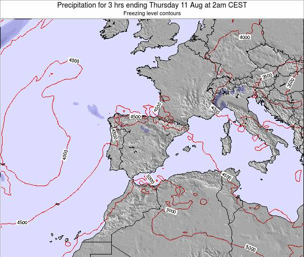 Spain Precipitation for 3 hrs ending Friday 31 Jul at 2pm CEST