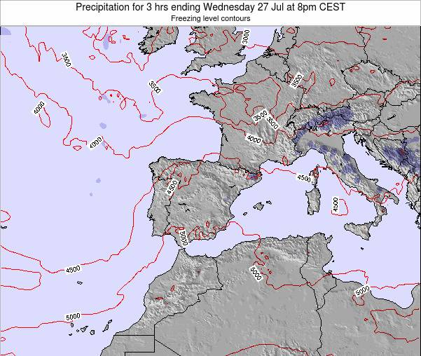 Spain Precipitation for 3 hrs ending Sunday 02 Oct at 8am CEST