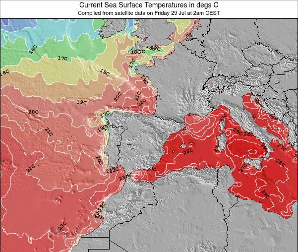 Spain Sea Temperature Map