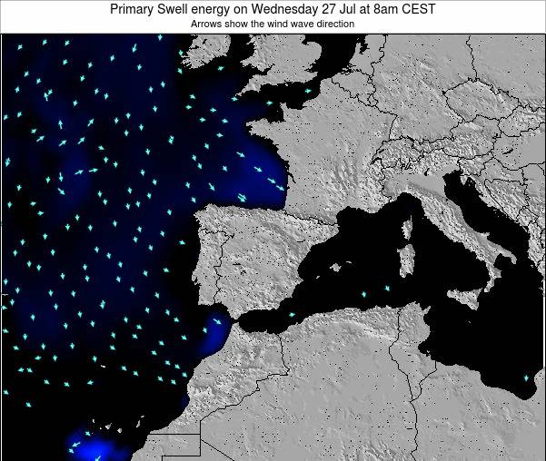 Spain Primary Swell energy on Tuesday 29 Jul at 8pm CEST