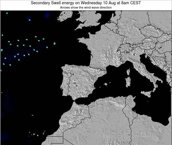 Spain Secondary Swell energy on Monday 17 Dec at 1am CET map