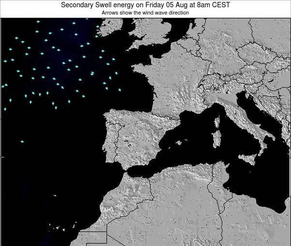 Spain Secondary Swell energy on Monday 20 Aug at 8am CEST map