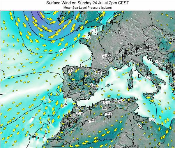 Map 24 Spain.Spain Surface Wind On Wednesday 20 Mar At 1pm Cet