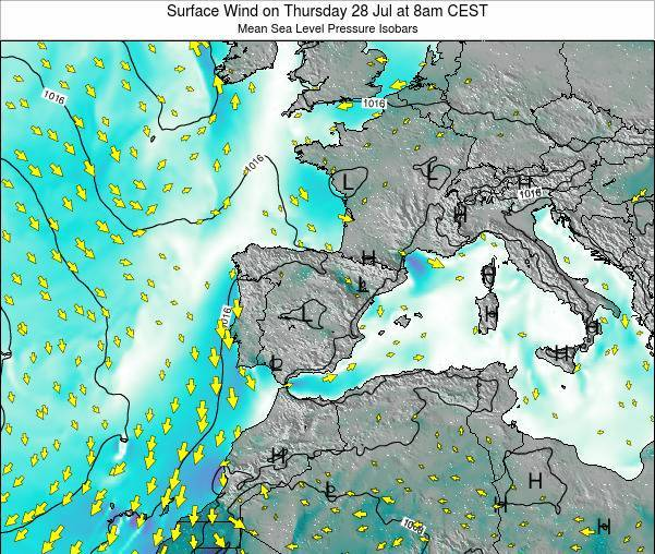 Andorra Surface Wind on Monday 27 May at 8pm CEST map