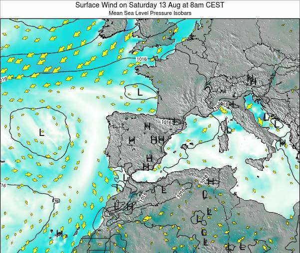 Andorra Surface Wind on Friday 24 May at 8am CEST map