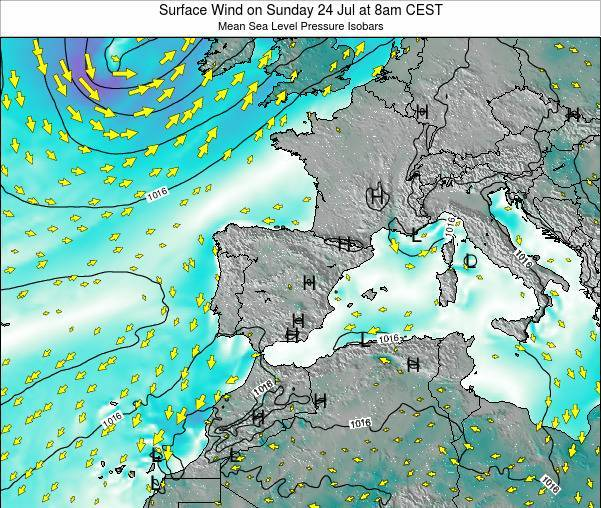 Spain Surface Wind on Monday 20 May at 8pm CEST