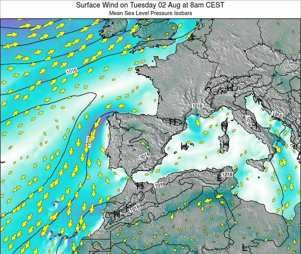 Spain Surface Wind on Monday 27 May at 2am CEST