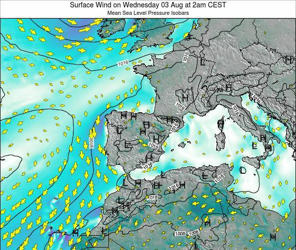 Spain Surface Wind on Monday 20 May at 2am CEST