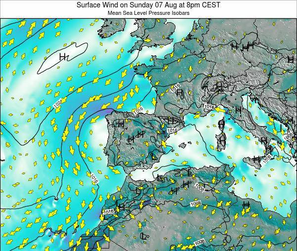 Andorra Surface Wind on Tuesday 21 May at 8am CEST map