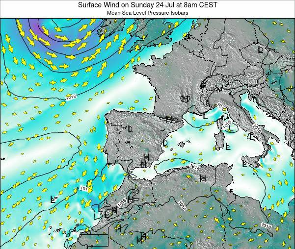 Spain Surface Wind on Friday 21 Jun at 8pm CEST