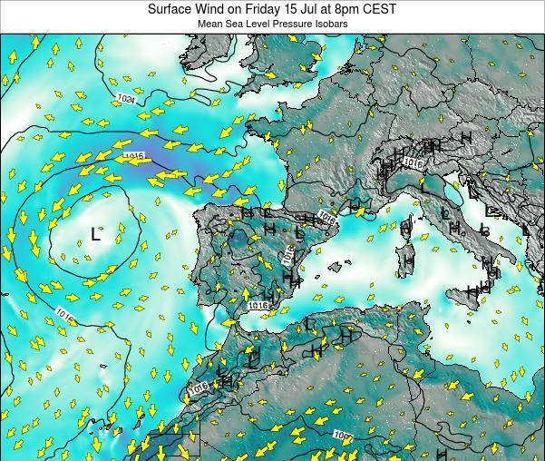 Spain Surface Wind on Wednesday 19 Jun at 8pm CEST