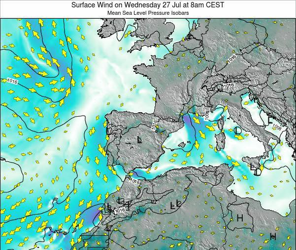 Andorra Surface Wind on Saturday 22 Jun at 8am CEST map