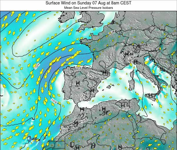 Spain Surface Wind on Wednesday 22 May at 8am CEST