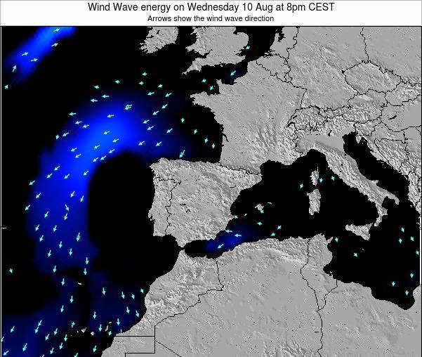 Spain Wind Wave energy on Monday 27 May at 2pm CEST