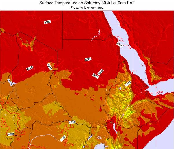 Sudan Surface Temperature on Monday 20 May at 3am EAT map