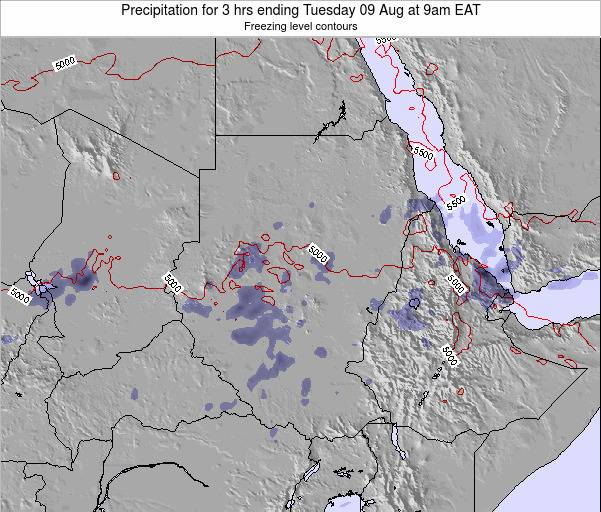Sudan Precipitation for 3 hrs ending Saturday 22 Jun at 3pm EAT map
