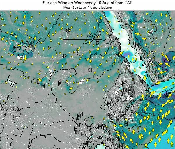 Sudan Surface Wind on Tuesday 25 Jun at 3pm EAT map