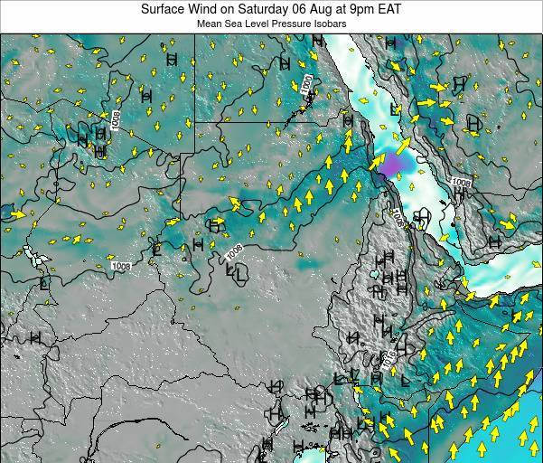 Sudan Surface Wind on Tuesday 28 May at 3am EAT map