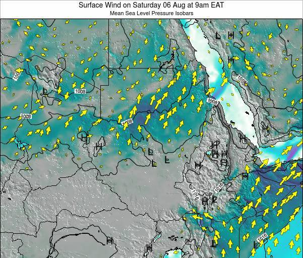 Sudan Surface Wind on Saturday 25 May at 3am EAT map