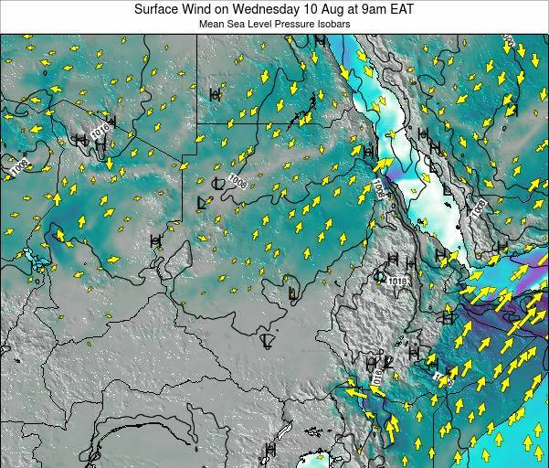 Sudan Surface Wind on Tuesday 21 May at 9pm EAT map