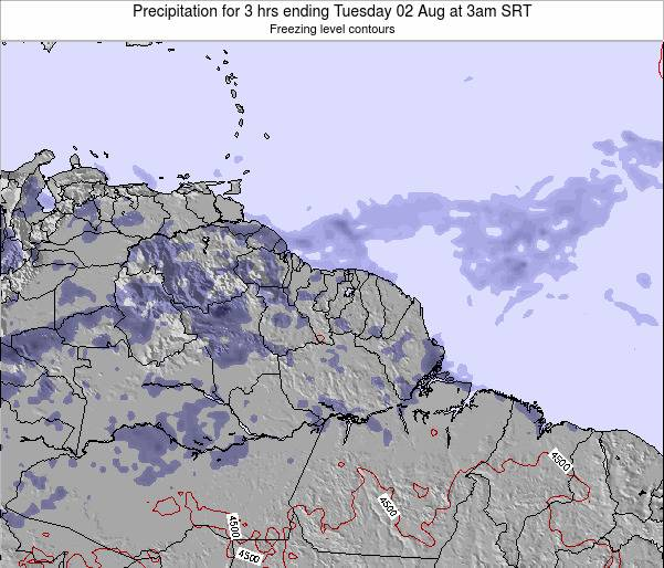 Guyana Precipitation for 3 hrs ending Monday 21 Apr at 3am SRT map