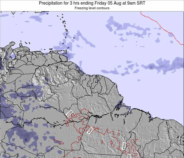 Guyana Precipitation for 3 hrs ending Saturday 08 Mar at 9am SRT map